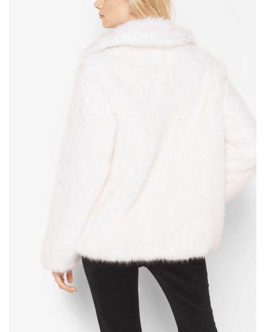 Michael Kors | White Faux-fur Peacoat | Lyst