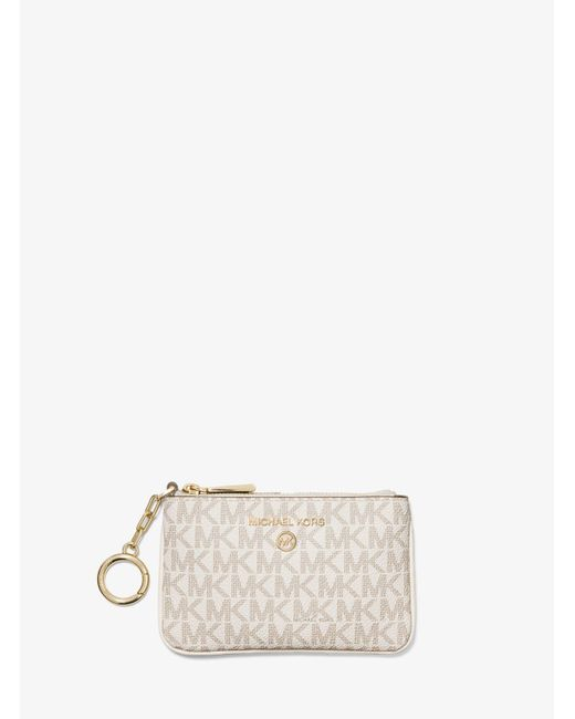 Michael Kors Natural Extra-small Logo Card Case With Key Ring