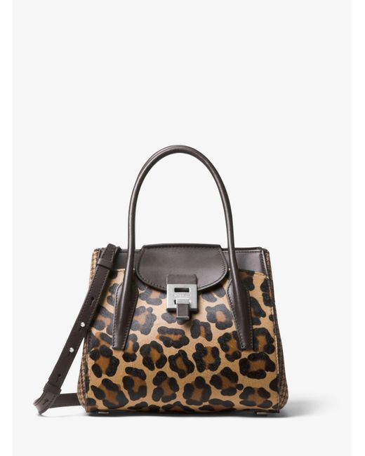 8575059c1b075 ... Michael Kors - Brown Bancroft Medium Leopard And Houndstooth Satchel -  Lyst ...