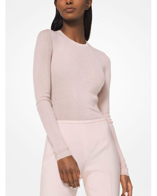 Michael Kors - Pink Featherweight Cashmere Pullover - Lyst