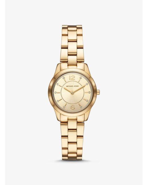 588e54114f0f Michael Kors - Metallic Petite Runway Gold-tone Watch - Lyst ...