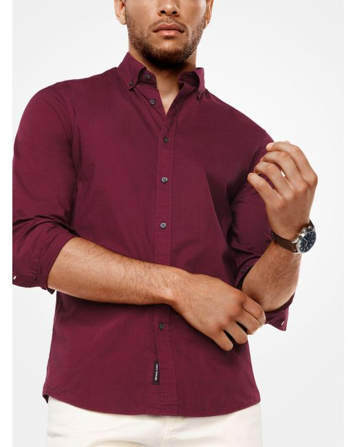Michael Kors - Red Slim-fit Cotton Shirt for Men - Lyst