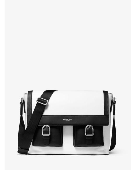 Michael Kors Black Kennedy Leather Messenger Bag for men