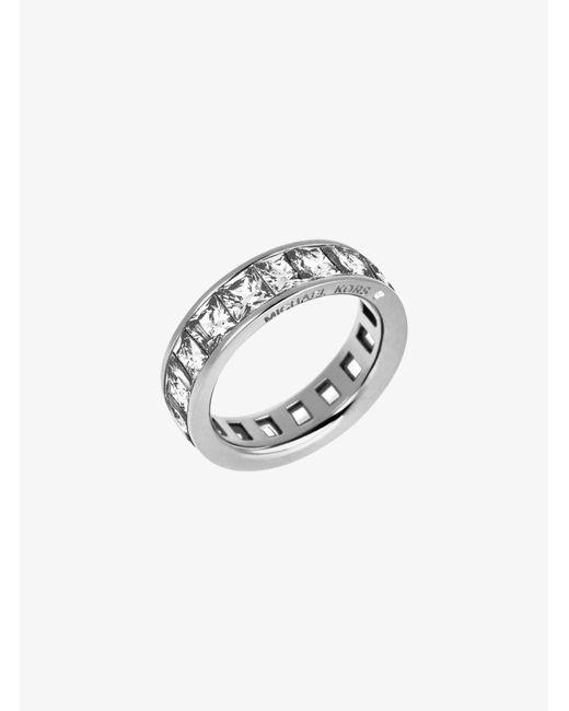 Michael Kors - Metallic Baguette Crystal Silver-tone Ring - Lyst