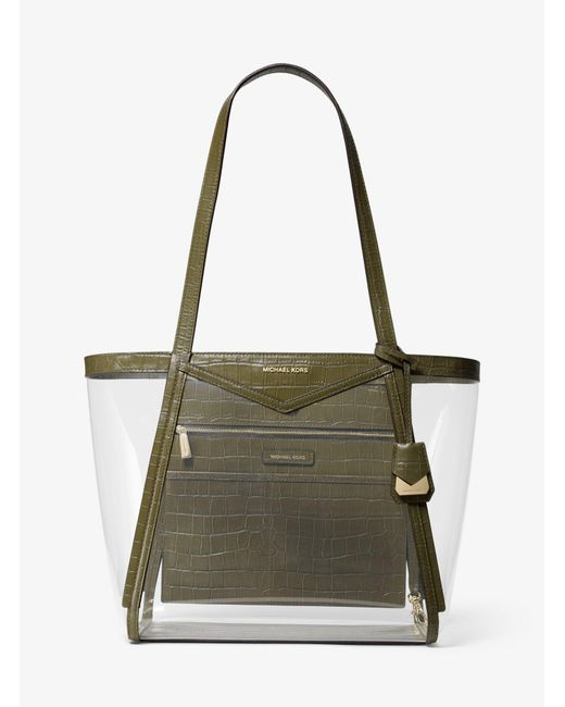 7af2fee619fb Michael Kors - Green Michael Whitney Clear Inset Tote - Lyst ...