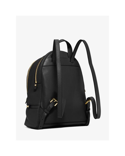 Michael kors Rhea Small Leather Backpack in Black | Lyst