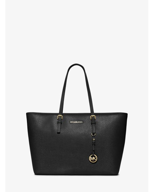 Michael Kors | Black Jet Set Travel Large Saffiano Leather Top-zip Tote | Lyst