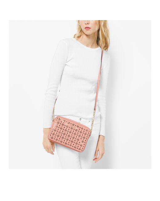 Michael Kors Perforated Leather Large Messenger Crossbody Bag 16