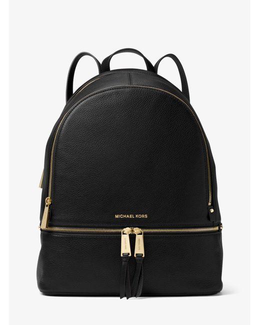 Michael Kors | Black Rhea Large Leather Backpack | Lyst