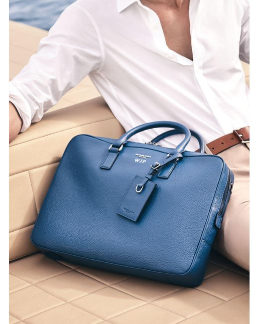 Michael Kors | Blue Bryant Large Leather Briefcase for Men | Lyst