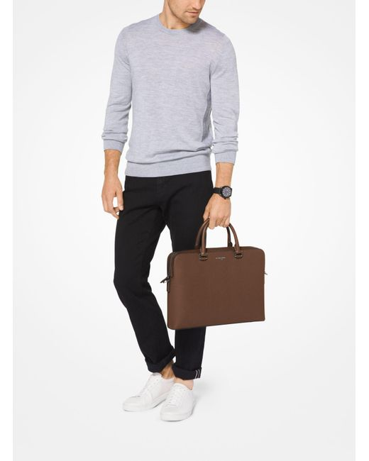 Michael Kors | Brown Harrison Leather Briefcase for Men | Lyst