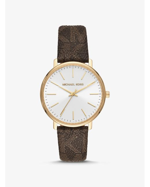 Michael Kors Brown Pyper Logo And Gold-tone Watch
