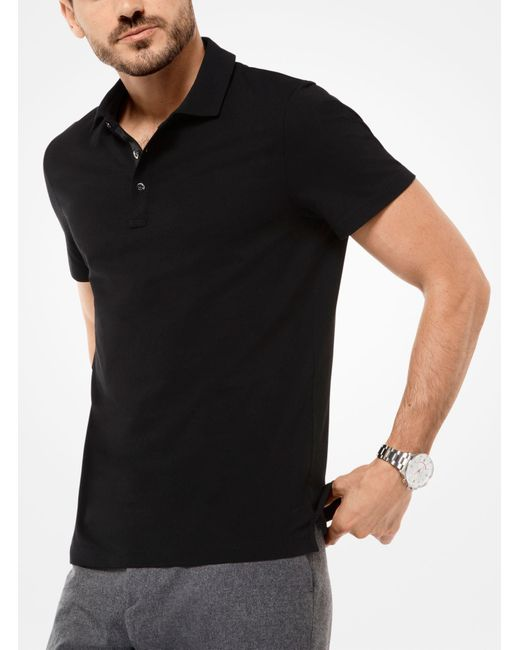 Michael Kors - Black Cotton Polo Shirt for Men - Lyst