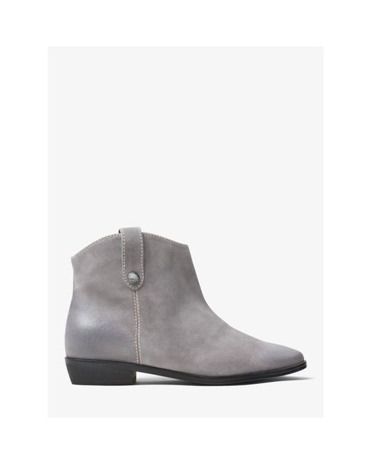 michael kors ashton suede ankle boot in gray lyst