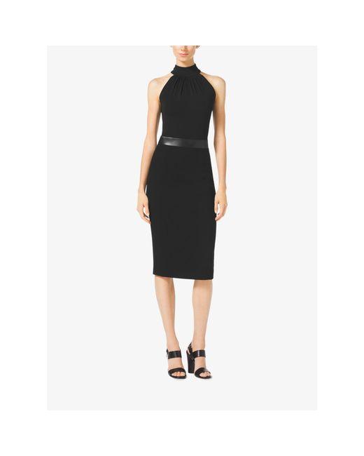 Michael Kors | Black Bouclé-crepe Halter Dress | Lyst