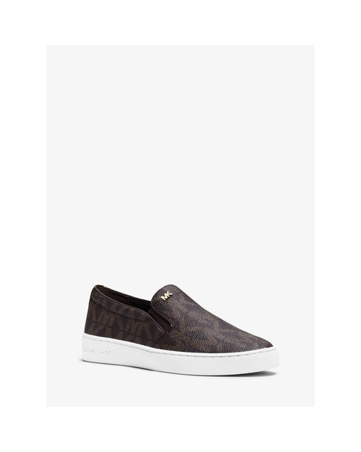 Michael Kors | Brown Keaton Logo Slip-on Sneaker | Lyst