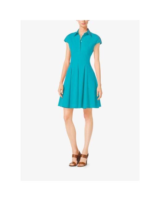 Michael Kors | Blue Cap-sleeve Cotton-poplin Dress | Lyst