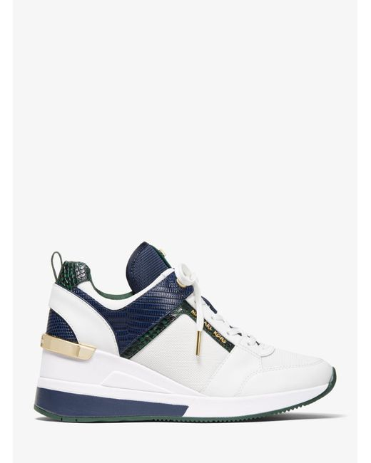 Michael Kors Blue Georgie Canvas And Embossed Leather Trainer