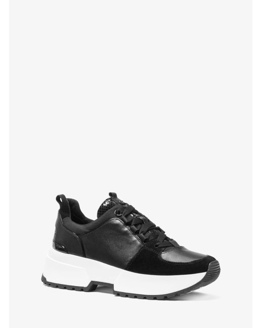 Michael Kors Black Cosmo Leather Mixed-media Trainer