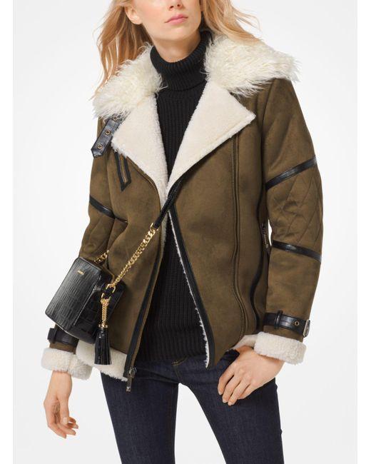 Michael Kors   Green Faux-shearling Jacket   Lyst