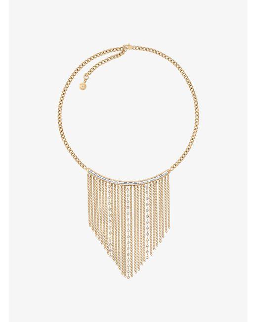 Michael Kors   Metallic Gold-tone Baguette Fringe Necklace   Lyst
