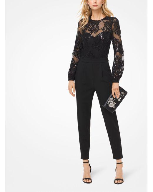 Michael Kors - Black Sequined Mesh Jumpsuit - Lyst