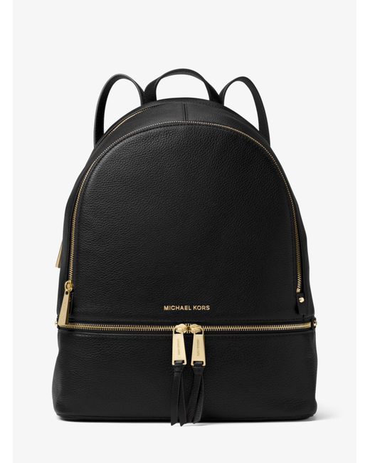 Michael Kors - Black Rhea Large Leather Backpack - Lyst