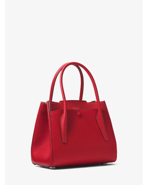 45ef4fa9e192 ... Michael Kors - Red Bancroft Medium Pebbled Calf Leather Satchel - Lyst  ...