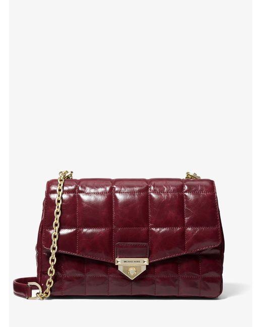Women's Red Soho Large Quilted Crinkled Leather Shoulder Bag