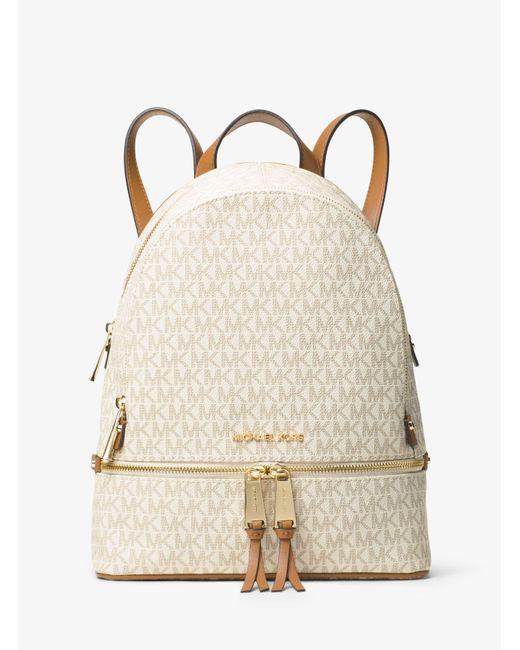 Michael Kors Leather Rhea Zip Md Backpack Vanilla in White - Save ...