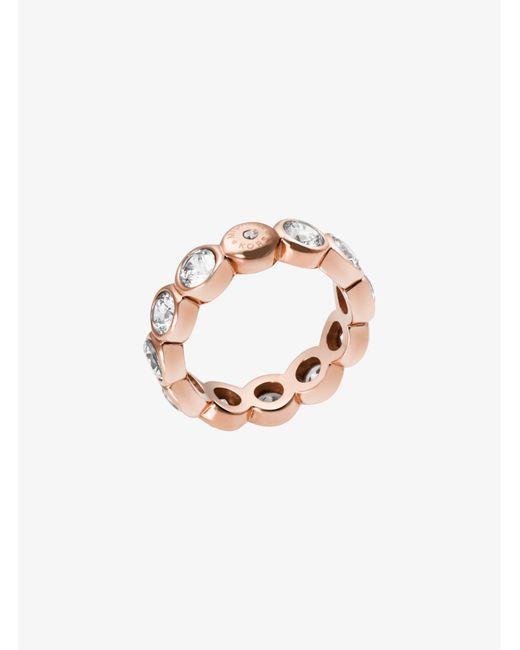 Michael Kors - Pink Cubic Zirconia Rose Gold-tone Circle Ring - Lyst