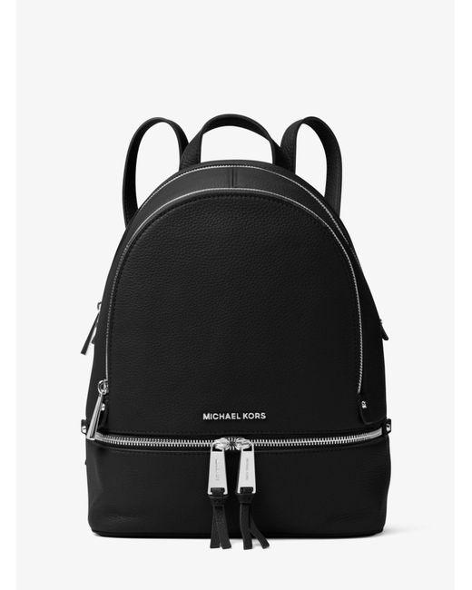 Michael Kors Black Rhea Medium Leather Backpack