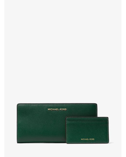 Michael Kors - Green Large Saffiano Leather Slim Wallet - Lyst