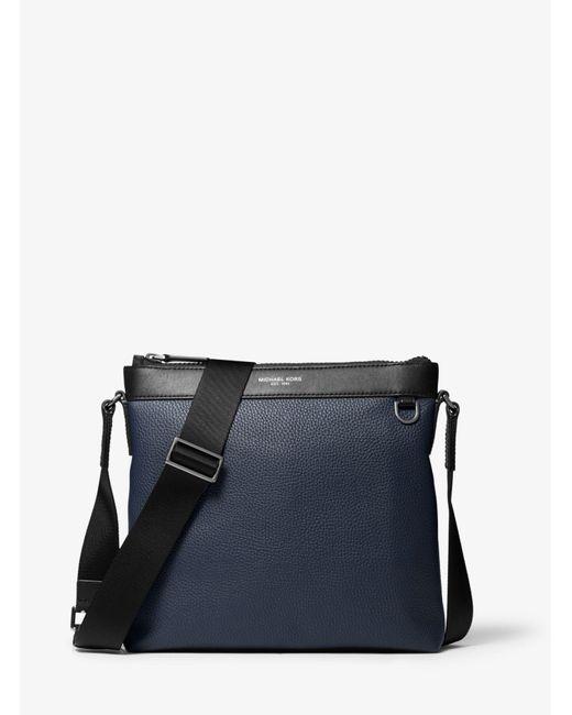 Michael Kors Blue Greyson Pebbled Leather Messenger Bag for men