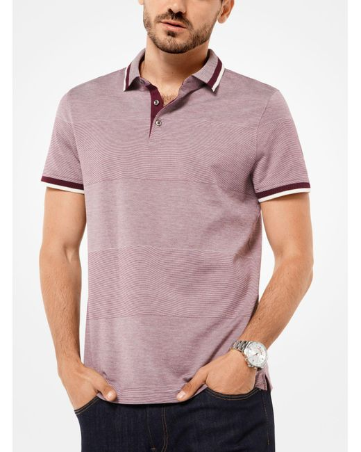 Michael Kors | Purple Striped Cotton-blend Polo Shirt for Men | Lyst