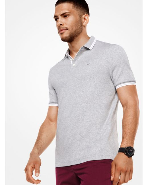 Michael Kors - Gray Greenwich Cotton Polo Shirt for Men - Lyst