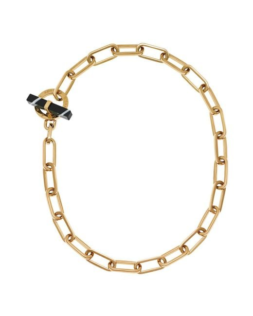 Michael Kors - Metallic Gold-tone Black Agate Toggle Chain Necklace - Lyst