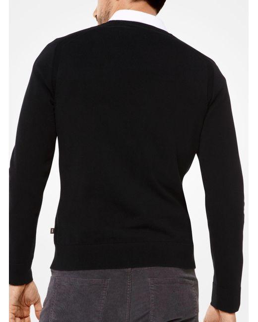 Michael Kors | Black Cotton V-neck Pullover for Men | Lyst