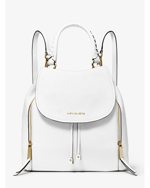 b7772bab3cdfe Michael Kors - White Viv Large Leather Backpack - Lyst ...