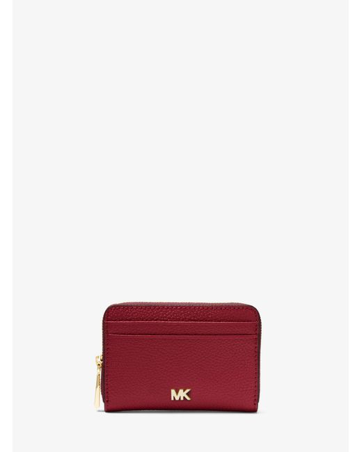 Michael Kors - Red Small Pebbled Leather Wallet - Lyst