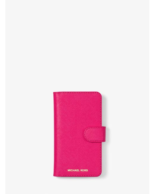 Michael Kors - Pink Saffiano Leather Folio Phone Case For Iphone X - Lyst