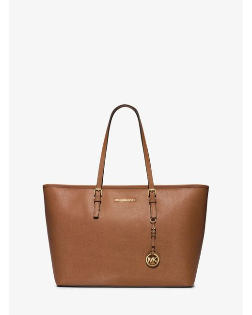 Michael Kors - Brown Jet Set Travel Saffiano-Leather Tote - Lyst