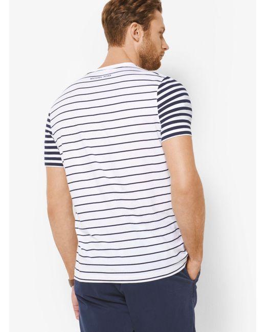 Michael Kors | White Striped Cotton T-shirt for Men | Lyst