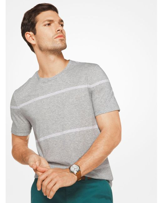 Michael Kors | Gray Striped Cotton T-shirt for Men | Lyst