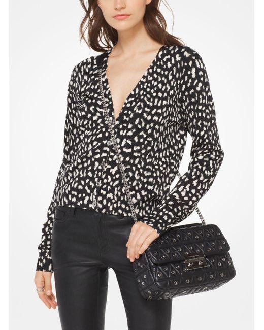 Michael Kors   Black Cheetah Viscose-blend Cardigan   Lyst