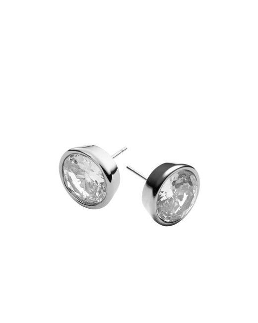 Michael Kors | Metallic Crystal Silver-tone Medium Stud Earrings | Lyst