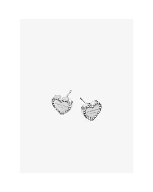 Michael Kors | Metallic Pavé Silver-tone Heart Charm Earrings | Lyst