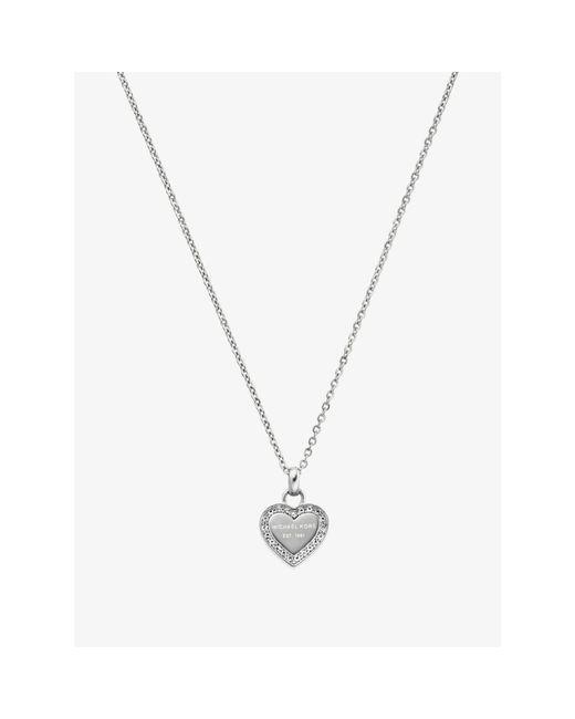 Michael Kors | Metallic Pavé Silver-tone Heart Pendant Necklace | Lyst