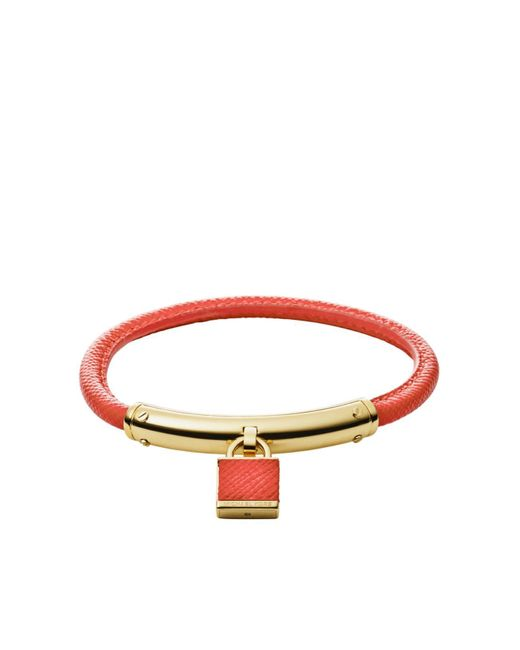 Michael Kors | Metallic Logo Padlock Leather Bracelet | Lyst