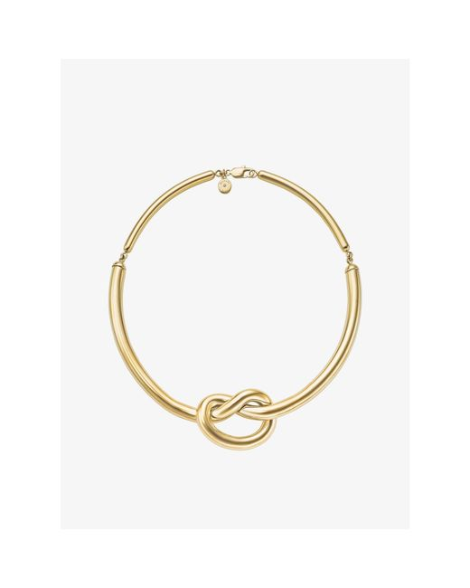 Michael Kors | Metallic Gold-tone Knot Necklace | Lyst